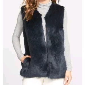 Laundry by Shelli Segal Dark Teal Faux Fur Vest S